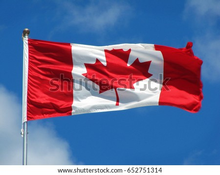 Waving Canadian flag against the blue sky