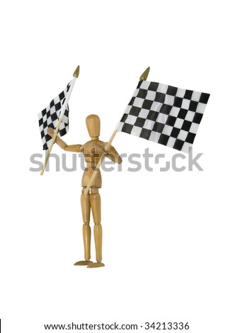 Waving checkered flags that symbolize winning at the finish line - path included