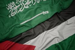 waving colorful flag of palestine and national flag of saudi arabia. macro