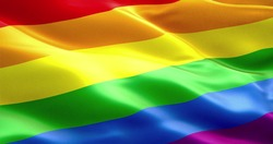 waving colorful of gay pride rainbow flag, civil right flag seamless looping 3D rendering, peace in the world concept
