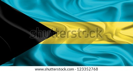 Waving Fabric Flag of Bahamas