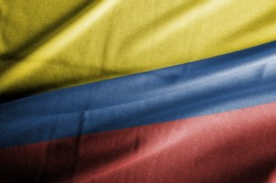 Waving Fabric Flag of Colombia