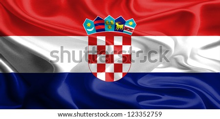 Waving Fabric Flag of Croatia