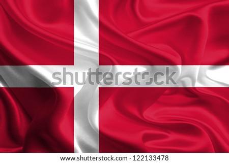 Waving Fabric Flag of Denmark
