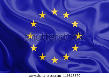 Waving Fabric Flag of European Union, EU