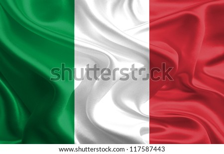 Waving Fabric Flag of Italy