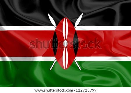 Waving Fabric Flag of Kenya
