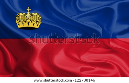 Waving Fabric Flag of Liechtenstein
