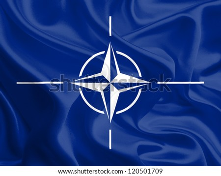 Waving Fabric Flag of NATO