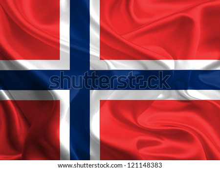 Waving Fabric Flag of Norway