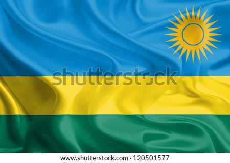 Waving Fabric Flag of Rwanda