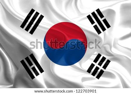 Waving Fabric Flag of South Korea