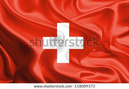 Waving Fabric Flag of Switzerland
