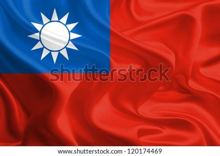 Waving Fabric Flag of Taiwan