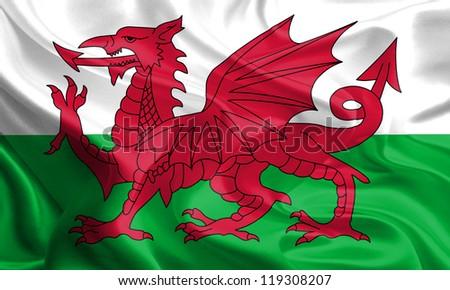 Waving Fabric Flag of Wales, United Kingdom