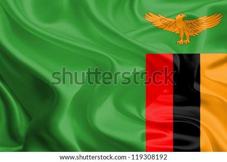 Waving Fabric Flag of Zambia