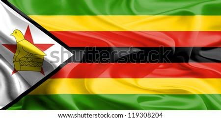 Waving Fabric Flag of Zimbabwe, Africa