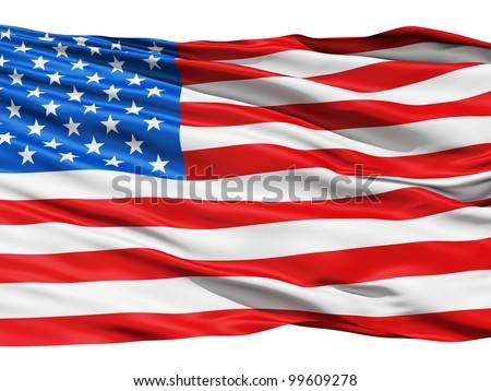 Waving flag of America (USA) - stock photo
