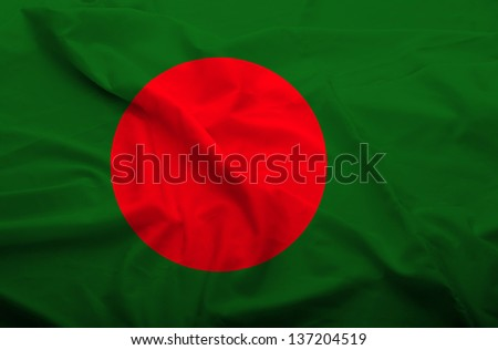Waving flag of Bangladesh. Flag has real fabric texture.
