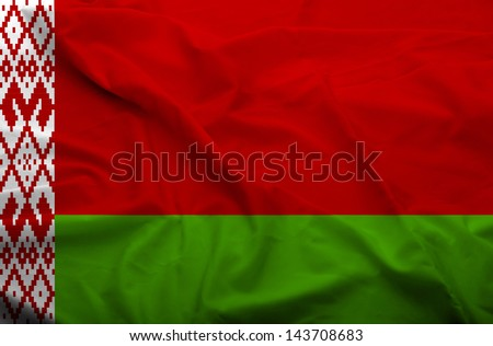 Waving flag of Belarus. Flag has real fabric texture.