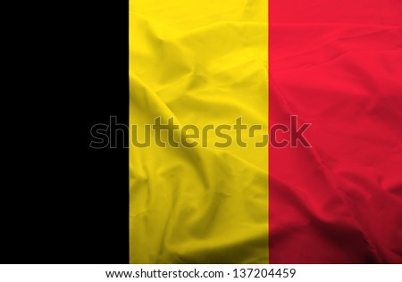 Waving flag of Belgium. Flag has real fabric texture.