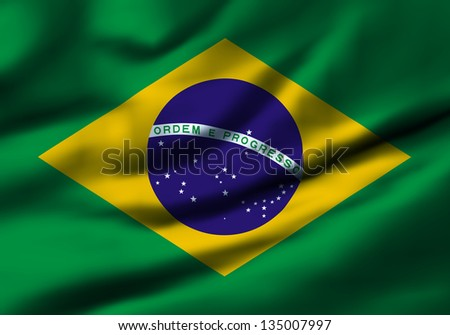 Waving flag of Brazil. Design 1.