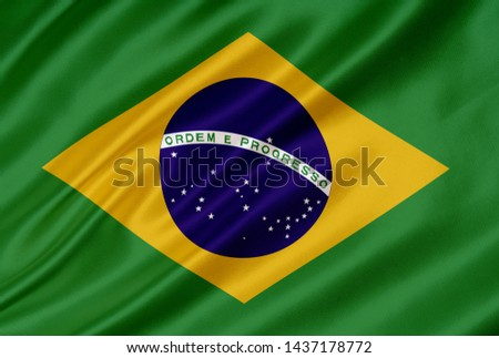 Waving flag of Brazil. Flag Brazil. Brazil silk waving flag