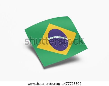 Waving Flag of Brazil, Flag of Brazil in White Background. #1477728509
