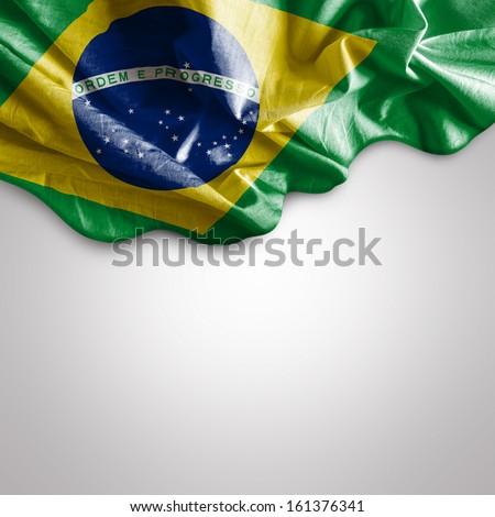 Waving flag of Brazil, South America