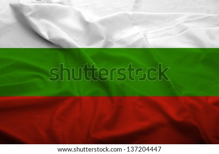 Waving flag of Bulgaria. Flag has real fabric texture.