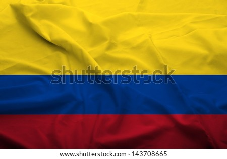 Waving flag of Colombia. Flag has real fabric texture.