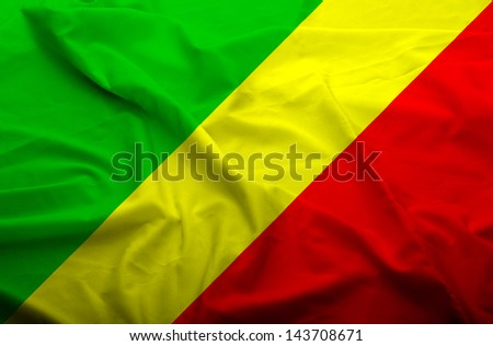 Waving flag of Congo. Flag has real fabric texture. - stock photo