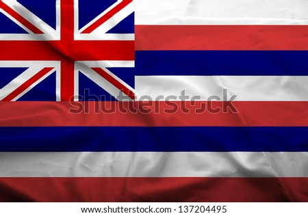 Waving flag of Hawaii. Flag has real fabric texture.