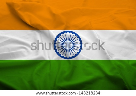 Waving flag of India. Flag has real fabric texture.