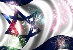 Waving flag of Israel  and festive firework