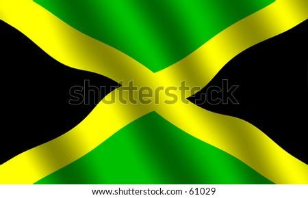 Waving flag of Jamaica - stock photo