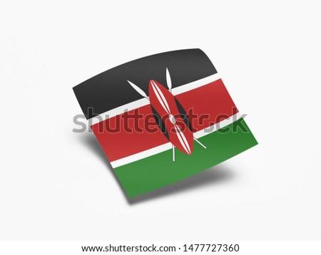 Waving Flag of Kenya, Flag of Kenya in White Background.
