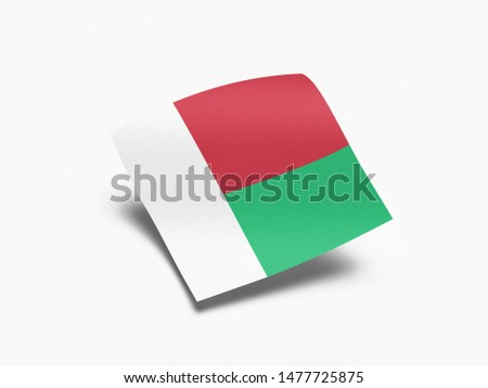 Waving Flag of Madagascar, Flag of Madagascar in White Background.