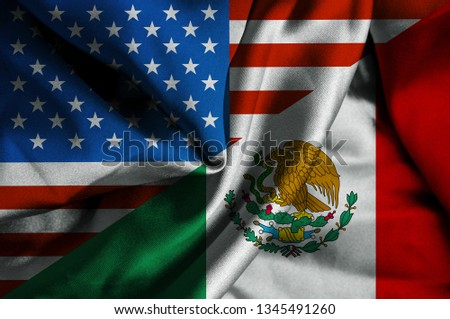 Waving flag of Mexico and Usa #1345491260