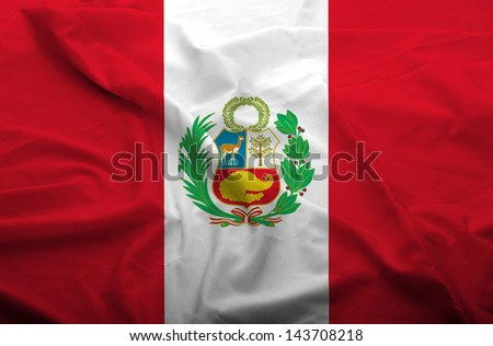 Waving flag of Peru. Flag has real fabric texture.