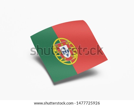 Waving Flag of Portugal, Flag of Portugal in White Background. #1477725926