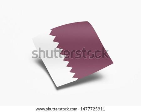 Waving Flag of Qatar, Flag of Qatar in White Background.