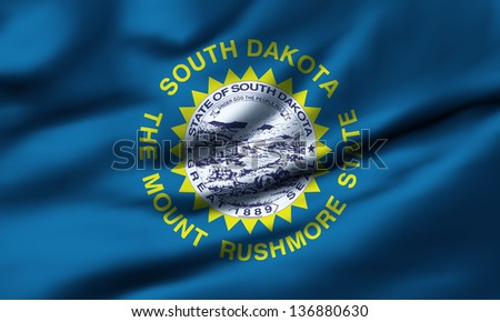 Waving flag of South Dakota. Design 1.