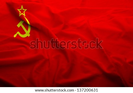 Waving flag of Soviet Union. Flag has real fabric texture.