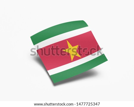 Waving Flag of Suriname, Flag of Suriname in White Background. #1477725347