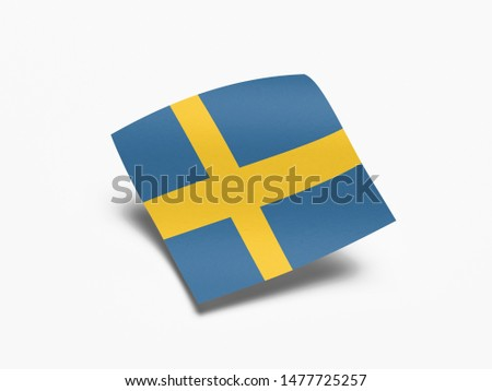 Waving Flag of Sweden, Flag of Sweden in White Background.