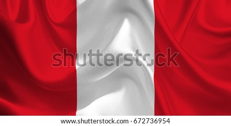 Waving flag of the Peru. Flag in the Wind. National mark. Waving Peru Flag. Peru Flag Flowing. 3d Illustration.