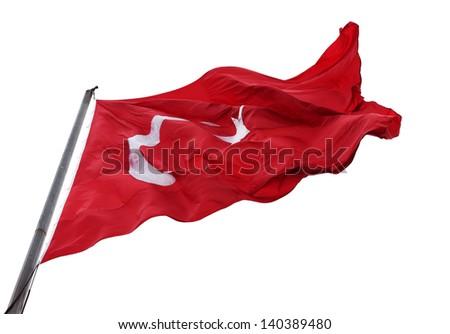 Waving flag of Turkey with flagpole. Isolated on white background. #140389480