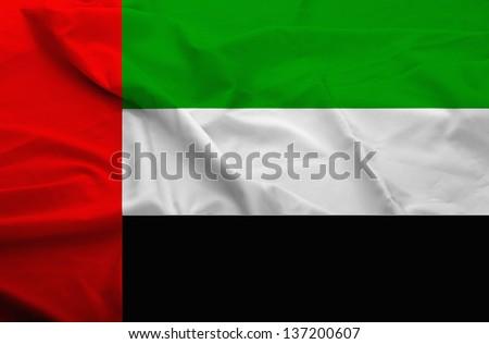 Waving flag of United Arab Emirates. Flag has real fabric texture.