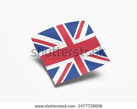 Waving Flag of United Kingdom, Flag of United Kingdom in White Background. #1477728008